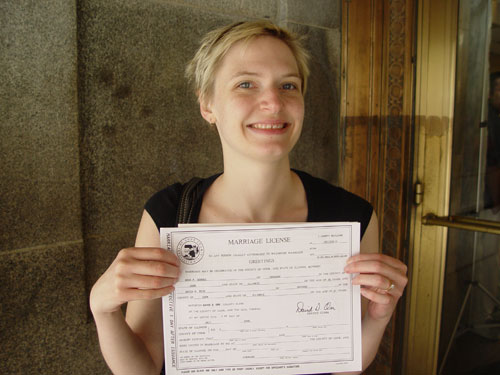 Erica with marriage license
